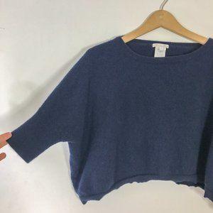 Minnie Rose Navy Cashmere Crop Sweater Jumper Blue